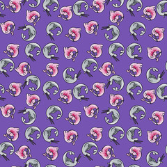 Cute cartoon watercolor hand drawn capricorn on dark purple background