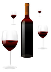 vector red wine bottles and glasses