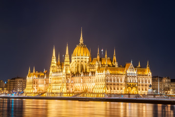 Night view of the Hungarian Parliament Building on the bank of the Danube in Budapest, Hungary.