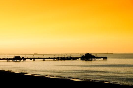Long Beach California USA-February 21st 2016:Belmont Pier at Belmont Shore Long Beach California USA