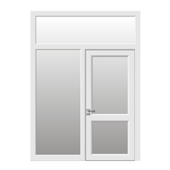 Double doors open onto a terrace or balcony in vector graphics