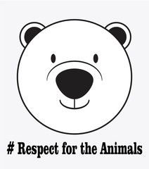 respect for the animals, head in white color background