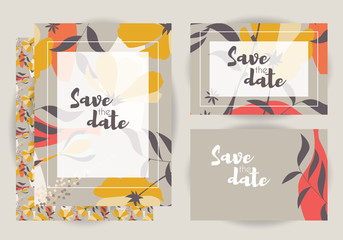 Wedding invitations, collection of vector wedding set with floral seamless pattern, vector illustration