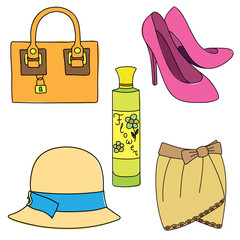 Set of shoes, bag, skirt, hat and perfume bottle on white background. Vector illustration.