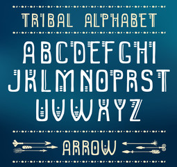 Tribal Alphabet. Vector ethnic letters and arrows. Cute and funny ABS letters for your design.