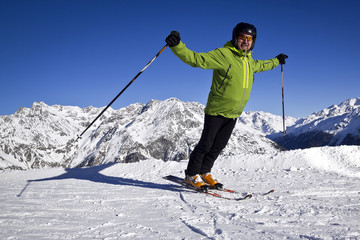 man enjoying skiing in Solden, Austria