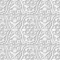 Vector damask seamless 3D paper art pattern background 206 Flower Vine Spiral