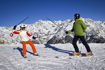 father and daughter enjoying winter sports in Solden, Austria