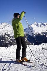 man enjoying skiing in Solden, Austria