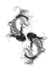 zwei kunstvoll verzierte Koi Karpfen