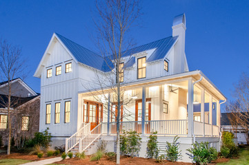 Lowcountry Modern Famhouse Exterior Evening Shot