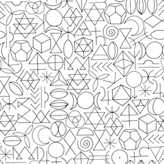 Hand drawn sacred symbols seamless pattern