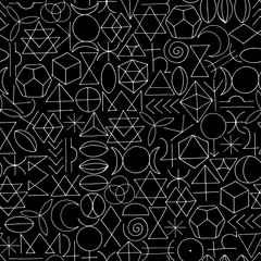 Hand drawn sacred symbols seamless pattern