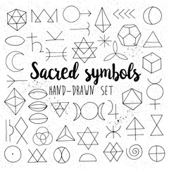 Sacred symbols set isolated