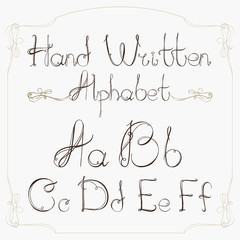 Hand drawn decorative vintage vector ABC letters.Nice alphabet
