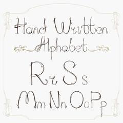 Hand drawn decorative vintage vector ABC letters.Nice alphabet