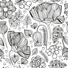 zentangle seamless pattern.Adult antistress coloring page