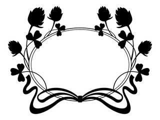 Outline frame with floral silhouette