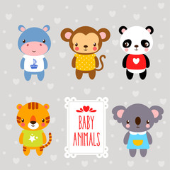 Vector set of cartoon animals. Vector set forest baby animals drawn in cartoon style on a gray background.