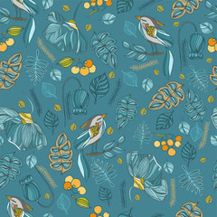 fabric decorative seamless pattern with birds, leaves, flowers