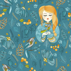 fabric pattern with young girl and bird.