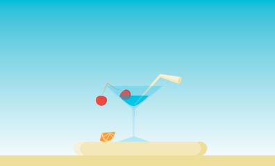 Martini glass with a cherry and straw