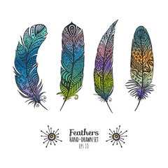 Colorful feathers set.Bright collection for prints and decoration.