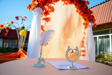 Beautiful autumn decoration wedding exit registration