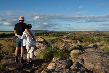 Couple enjoying the view at Ubirr, Kakadu, Australia