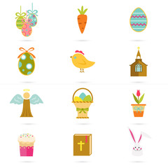 Color set of sixteen Easter icons