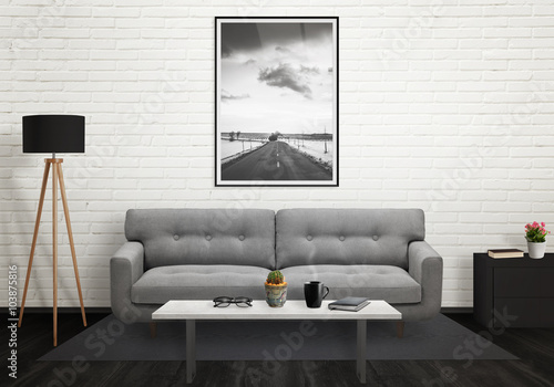 wall picture frames for living room. Road picture in vertical art frame on wall  Sofa lamp plant glasses