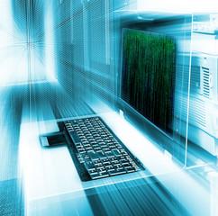 server management terminal blur matrix binary code