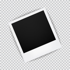 Old empty realistic photo frame with transparent shadow on plaid black white background