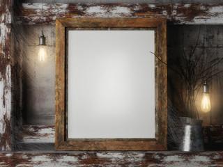 k up frame with spider's web, vintage hipster background, 3d rendering