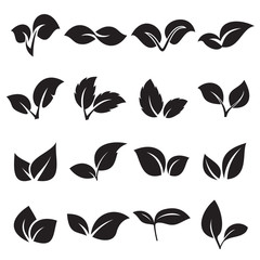 Two leaves icons. Concepts for nature, natural product, ecology. Vector illustration