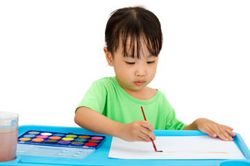 Asian Little Chinese Girl Painting with Brush