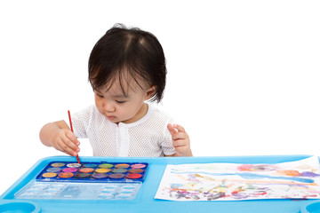Asian Little Chinese Girl Painting with Watercolor