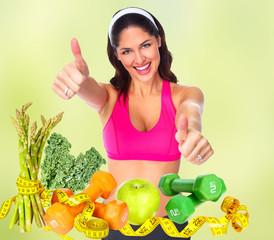 Fototapete - Happy healthy fitness woman.