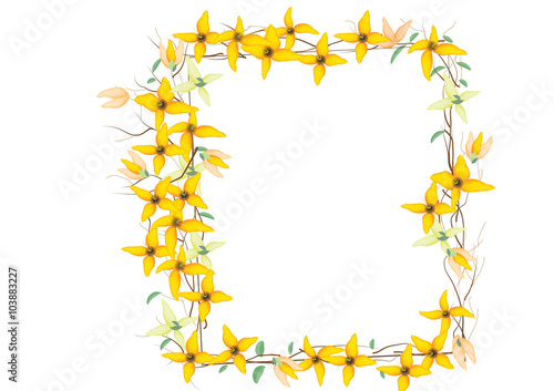 border frames or wreath flowers created , Yellow flowers border ...