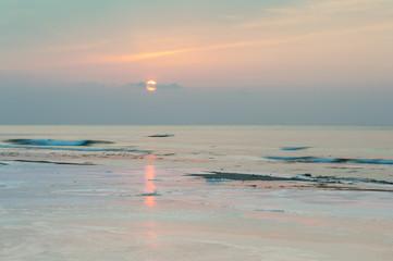 February sea / Photo sunrise of the Northern coast of the sea of Japan in February...