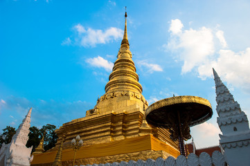 The golden temple Landmark of Nan is Wat Phra That Charehang was built in 1355. It is the most sacred wat in Nan Province Thailand