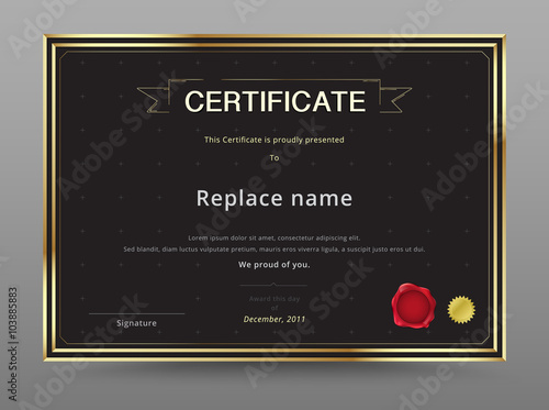 Elegant certificate template design gold and black color vector elegant certificate template design gold and black color vector yelopaper Gallery