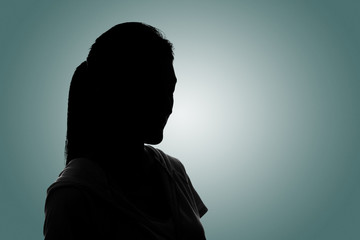Silhouette woman portrait