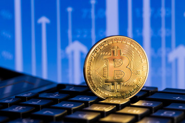 one bitcoin on blue background