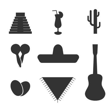 Vector solid Mexican flat set, icon, elements for travel site, banner, web. Sombrero hat, guitar, avocado, Maraca, cactus, inca pyramid, tequila