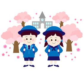 小学生、 一年生、 制服、 私立、 桜、 学校、 友達、 2人、 並ぶ、