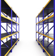 shelving gravity for pallets isolated on white
