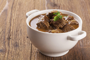 Beef stew served with bread