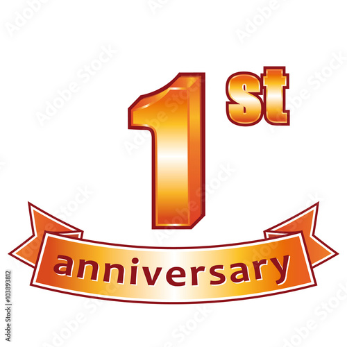 Quot st anniversary golden vector label stock image and