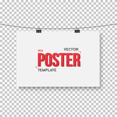 Vector Poster Mockup. Realistic Vector EPS10 Paper Horisontal Po